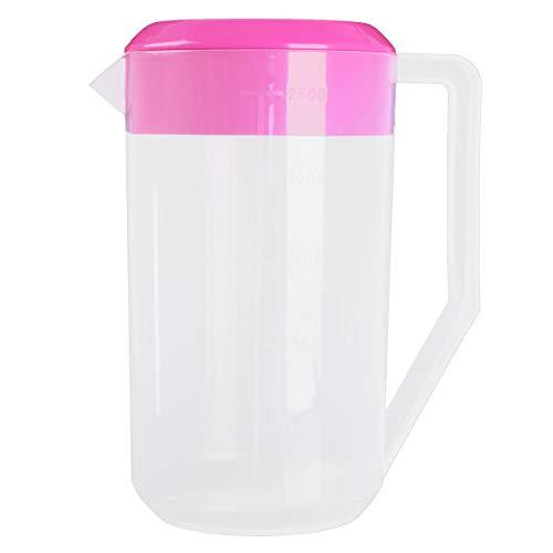 Freebily Plastik Grosser Krug mit Deckel 2,5 l Wasserkrug Wasserkanne Wasserkaraffe Transparent Messbecher Kühlschrankkrug Eistee Bier Saftkrug Rose Rot 2500ML