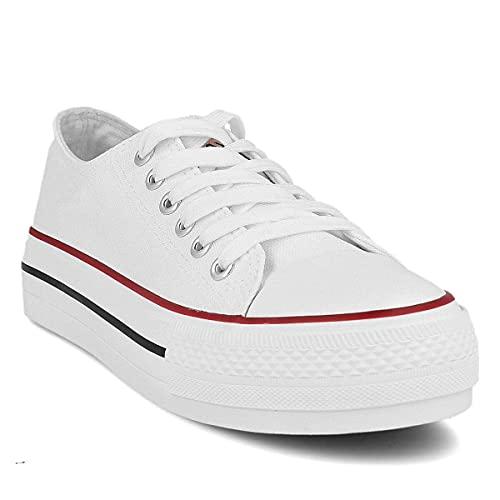 PAYMA - Zapatillas Bambas Botas de Lona Mujer. Puntera de Goma. Playeras de Deporte Casual y Caminar. Color: Blanco Bajas Piso Doble. Talla 39