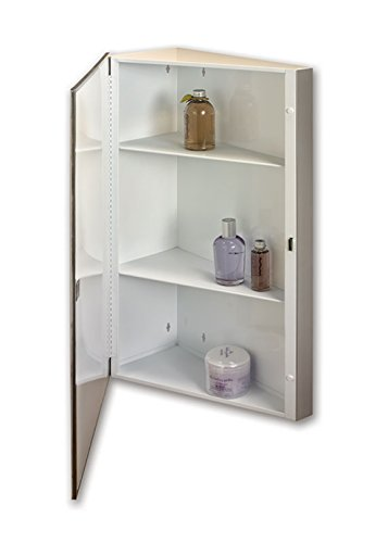 Jensen 867P36WHX Corner Bevel Mirror Medicine Cabinet, 16' x 36'