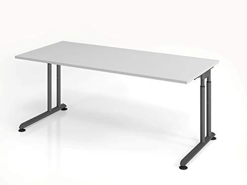Hammerbacher Schreibtisch C-Fuß 180x80cm Grau/Graphit