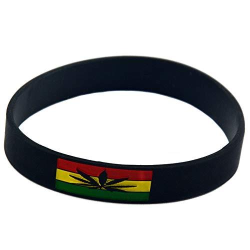 Xi-Link Pulsera Jamaica Espíritu Mano Pulsera De Silicona Suave con La Tendencia De Los Accesorios De Hip-Hop (Color : Black)