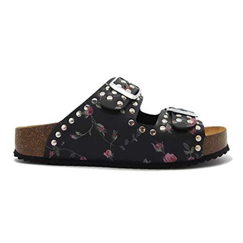 PLAKTON Chaussures Femme CP Zita Cuir Noir Motif Roses (41 EU)