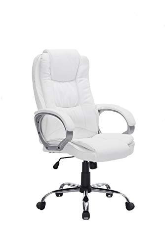 HOGAR24 ES Silla sillon de Oficina Estudio Alta Gama tapizado en Piel sintetica, Color Blanco.