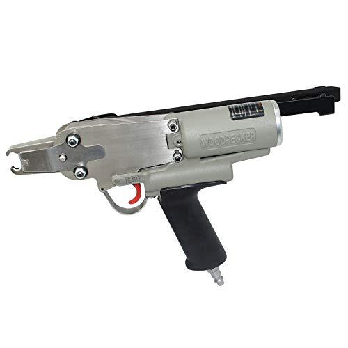 Woodpecker C-7E4BT Pistola de grapadora neumática de anillo de cerdo de calibre 15, pistola de grapadora de anillo Crown Air Power de 3/4 pulgadas para resorte de colchón, asiento de automóvil, jaulas