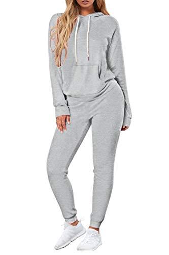 Selowin Women Sweatsuit Hooded Long Sleeve Sweatshirt Jogging Pant Sport Loungewear Tracksuits Grey M