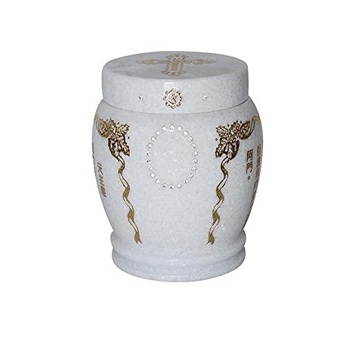 XXSC-ZC Urnas de mármol Blanca de la Nieve, cremación Unisex Commemorative Burial Place Supplies Urns