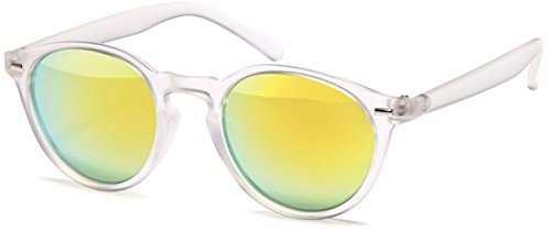 Chic-Net Sonnenbrille Panto transparent Retro 400UV Schlüsselloch Steg verspiegelt gelb