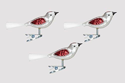 Christbaumschmuck Glas Vogel Set 3 Stück Silber/Rot H mundgelasen Lauscha