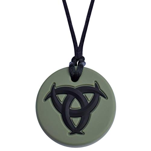 Munchables Celtic Knot Sensory Chew Necklace Kids and Adults - Green - Sensory Oral Motor Aid Chewable Necklace for Boys or Girls with Autism, ADHD, SPD