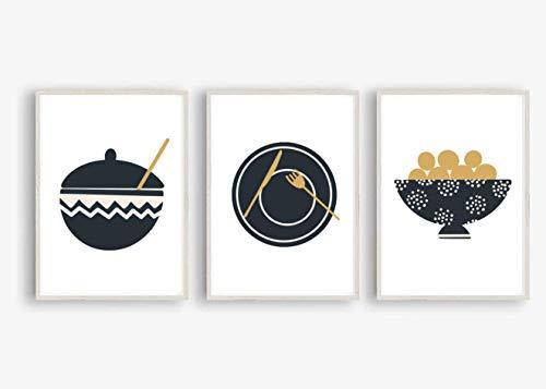 Kunstdruck Din A4 ungerahmt 3-teilig - Küche Esszimmer Teller - Schale - Topf - Skandinavischer Stil - Scandi Style Modern Druck Poster Bild