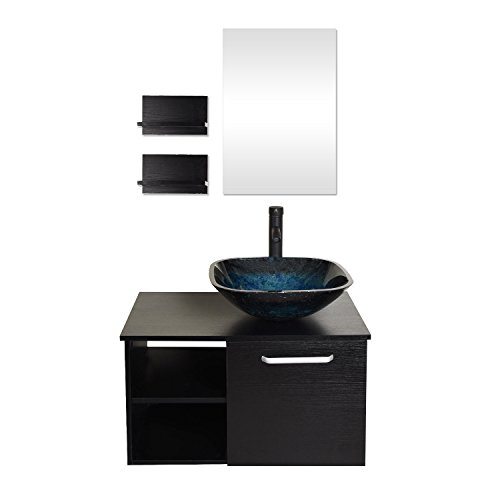 28 Inches Bathroom Vanity, Modern Lavatory Wall Mounted Cabinet, with Mirror, Blue Square Glass Sink Top with Single Faucet Hole