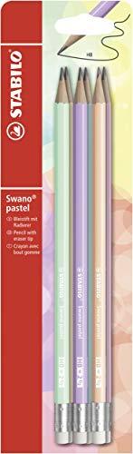 Lápiz con goma STABILO swano pastel – Pack con 6 lápices, varios colores (B-55366-10)