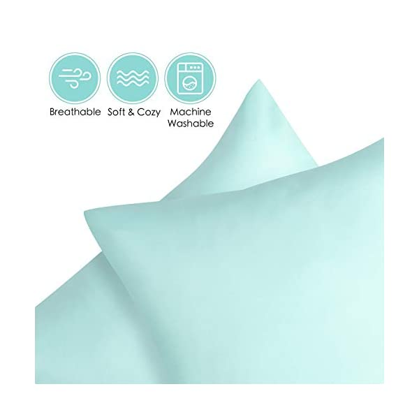 TILLYOU Toddler Travel Pillowcases Set of 2, 14×20- Fits Pillows Sized 12×16, 13×18 or 14×19, 100% Silky Soft Microfiber, Envelope Closure Machine Washable Kids Pillow Cases, Aqua