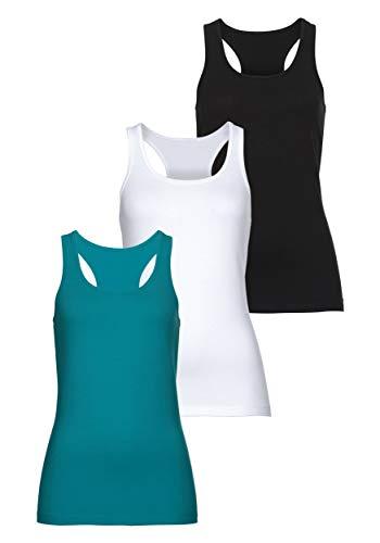 MONYRAY Damen Unterhemden Tank Top Figurformende Ringerrücken aus Baumwolle 3er Pack(schwarz/weiß/Petrol, M)