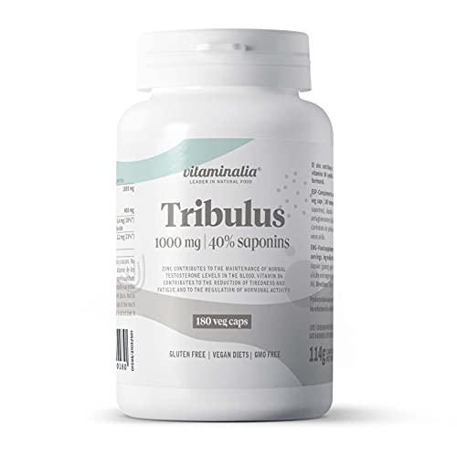 Tribulus Terrestris 1000mg de Vitaminalia | Extracto 4:1 Con el 40% Saponinas | Suplemento Dietético para 3 Meses | Con Vitamina B6 + Zinc | Vegano, Sin OGM, Sin Gluten | 180 Cápsulas Vegetale
