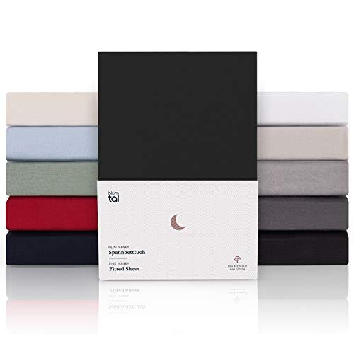 Blumtal Premium Spannbettlaken 140x 200 - Superweiches 100% Baumwolle Spannbetttuch, bis 25cm Matratzenhöhe, Schwarz