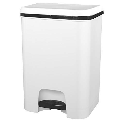 TODO HOGAR Cubo de Basura con Pedal con Capacidad de 26 litros   Color Blanco, Libres de BPA