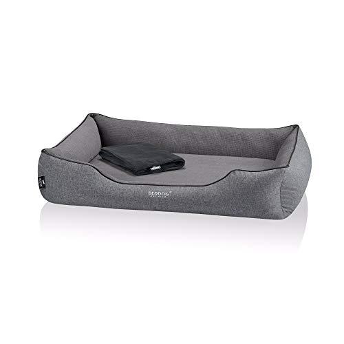 BedDog Premium Orthopädisches Hundebett Clara, Hundekissen mit abnehmbaren Bezug, Kuschel-Decke als Zugabe - Rock (grau)
