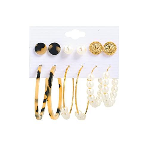 1 juego de pendientes de perlas vintage multiestilo con diseño de perlas