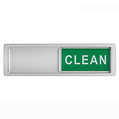 Dishwasher Magnet Clean Dirty Sign Non-Scratching Magnet and 3M Adhesive Stickers Shows You Dishes are Clean or Dirty (Silver)