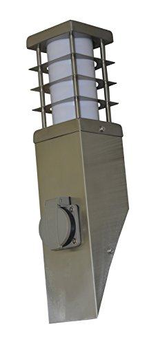 Roestvrijstalen buitenlamp met stopcontact, hoogte 38 cm, fitting E27 max. Vermogen 11 W - I-WATTS OUTDOOR LIGHTING