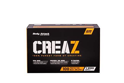 Body Attack Creaz - reinste Kreatin Kapseln - vegan - hochdosiert - 100 Stk. (1er Pack)
