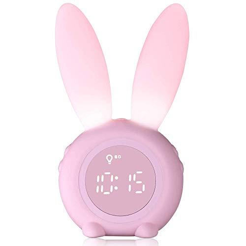 Reloj despertador infantil para niños, lindos conejitos luces nocturnas para habitación de niños, regalos de fiesta de cumpleaños...