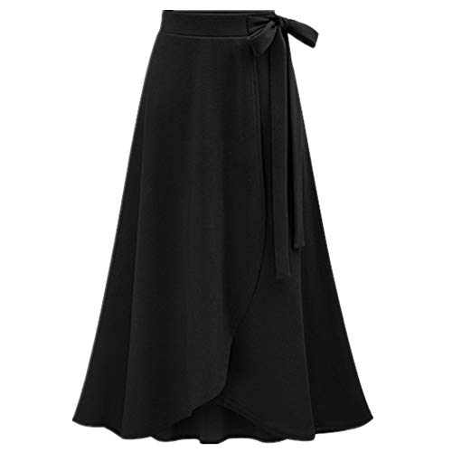 Solider Rock für Damen, elastischer Bund, groß, hohe Taille, unregelmäßig, mittellang Gr. 42, Schwarz