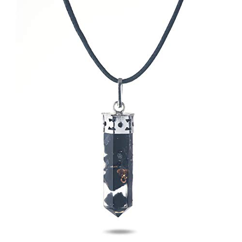 Colgante de Orgón y Turmalina Negra - Joyería Curativa de Cristal | Ideal para Aclarar y Proteger el aura de influencias negativas | Bisutería de Moda en Turmalina Negr