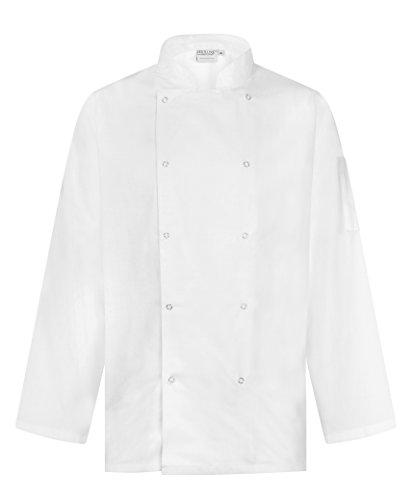Chaqueta de Chef Profesional - Manga Larga - Unisex - Ajuste Moderno (Blanco, M)