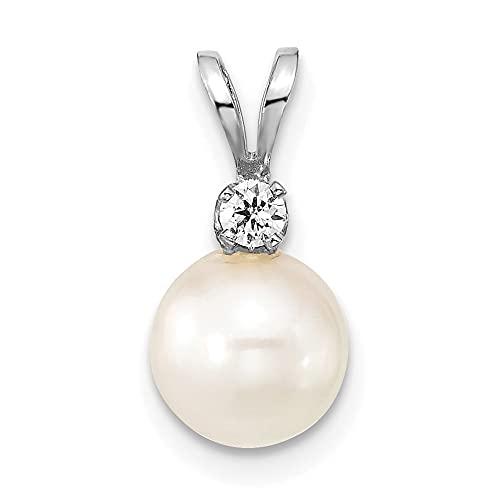Collar con colgante de oro blanco de 14 quilates de 7 8 mm de agua salada blanca redonda Akoya 05 quilates de peso y diamante para mujer