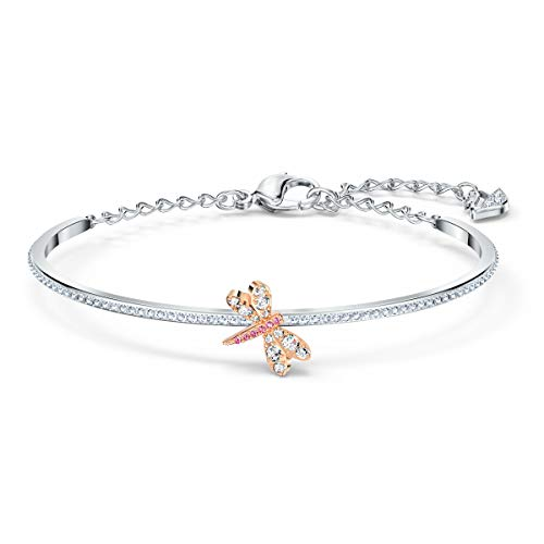 Swarovski Eternal Flower Armreif, Damenarmreif im Metallmix mit Funkelnden Swarovski Kristallen und Einer Filigranen Libelle
