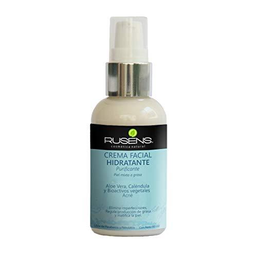 Rusens - Crema Facial Purificante (Antiacné) 100% Natural, Ideal para Piel Grasa con Tendencia a Acné, Consistencia Ligera