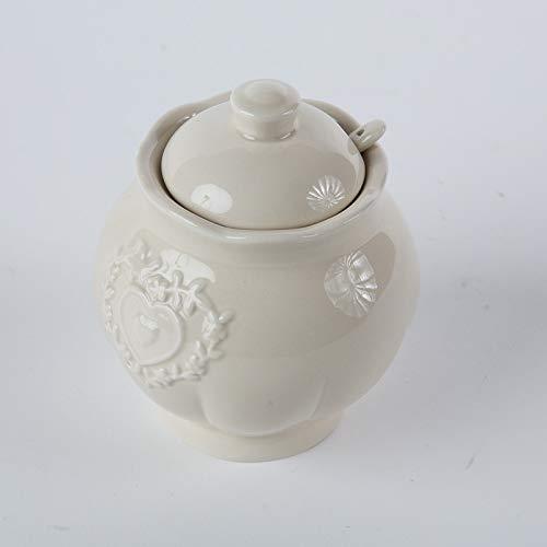 DiKasa ZUCCHERIERA con CUCCHIAINO Ceramica Stile Shabby DIAM 9X11H