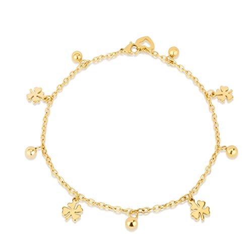 14K Gold Plated Stainless Steel Charm Anklets For Women Girls, Dainty Foot Jewelry, Fashion Accessories and Gadgets, Summer Beach 10 Inch Ankle Bracelets, Cute Chain Link Anklet