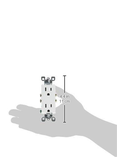 Leviton 5325-WMP 15 Amp, 125 Volt, Decora Duplex Receptacle, Residential Grade, Grounding, 10-Pack, White