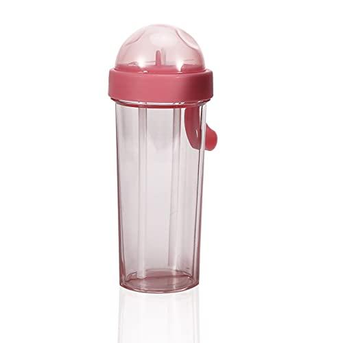 Yinuoday Botella de Agua Portátil Botella de Agua Portátil de Dos Pajitas con Mango de Silicona Adecuada Taza de Bebida de Doble Uso de 600Ml para Correr Gimnasio Yoga Aire Libre Y Camping