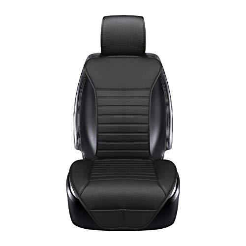 EDEALYN New Universal car seat Cover PU Leather Car Seat Cushion Car seat backrest pad - Car Interior Accessories,1 PCS (Black-B)