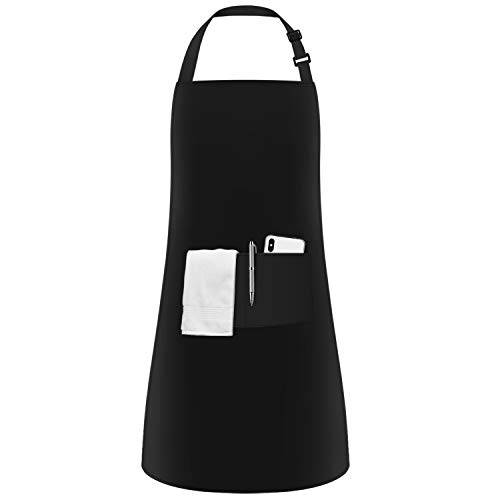 InnoGear Unisex Adjustable Bib Apron with 2 Pockets Cooking Kitchen Chef Women Men Aprons for Home Kitchen, Restaurant, Coffee house (Black Polyester)