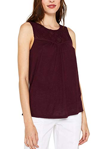 ESPRIT Damen 059EE1K016 T-Shirt, Rot (Bordeaux Red 600), Medium (Herstellergröße: M)