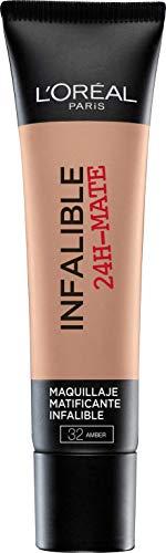 L Oréal Paris Infaillible 24HMat Fondotinta Coprente, Lunga Tenuta, Opacizza senza Appesantire, 32 Ambre