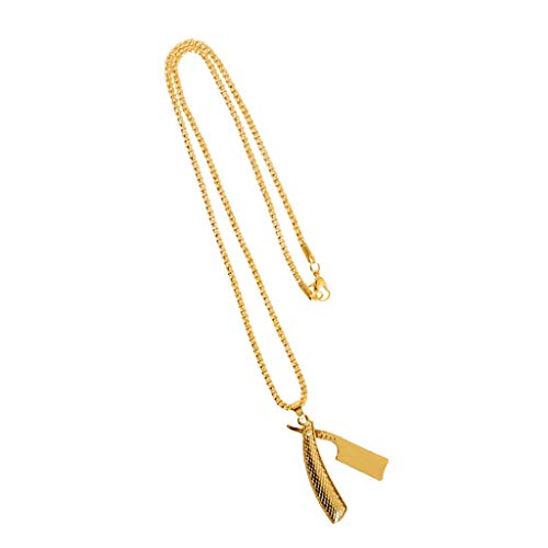 P Prettyia Lindo Colgante de Aleación de Afeitadoras Salón de Belleza Collar Colgante Encanto con Cadena Larga de Oro