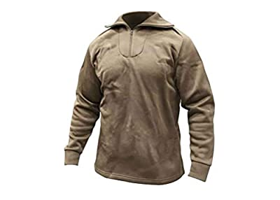 GENUINE MILITARY SURPLUS Thermal Top, Polypro, Zip, Brown, Size X-Small