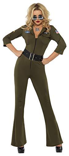 Smiffys Licenciado oficialmente Aviateur Top Gun, Vert, avec combinaison-pantalon et ceinture
