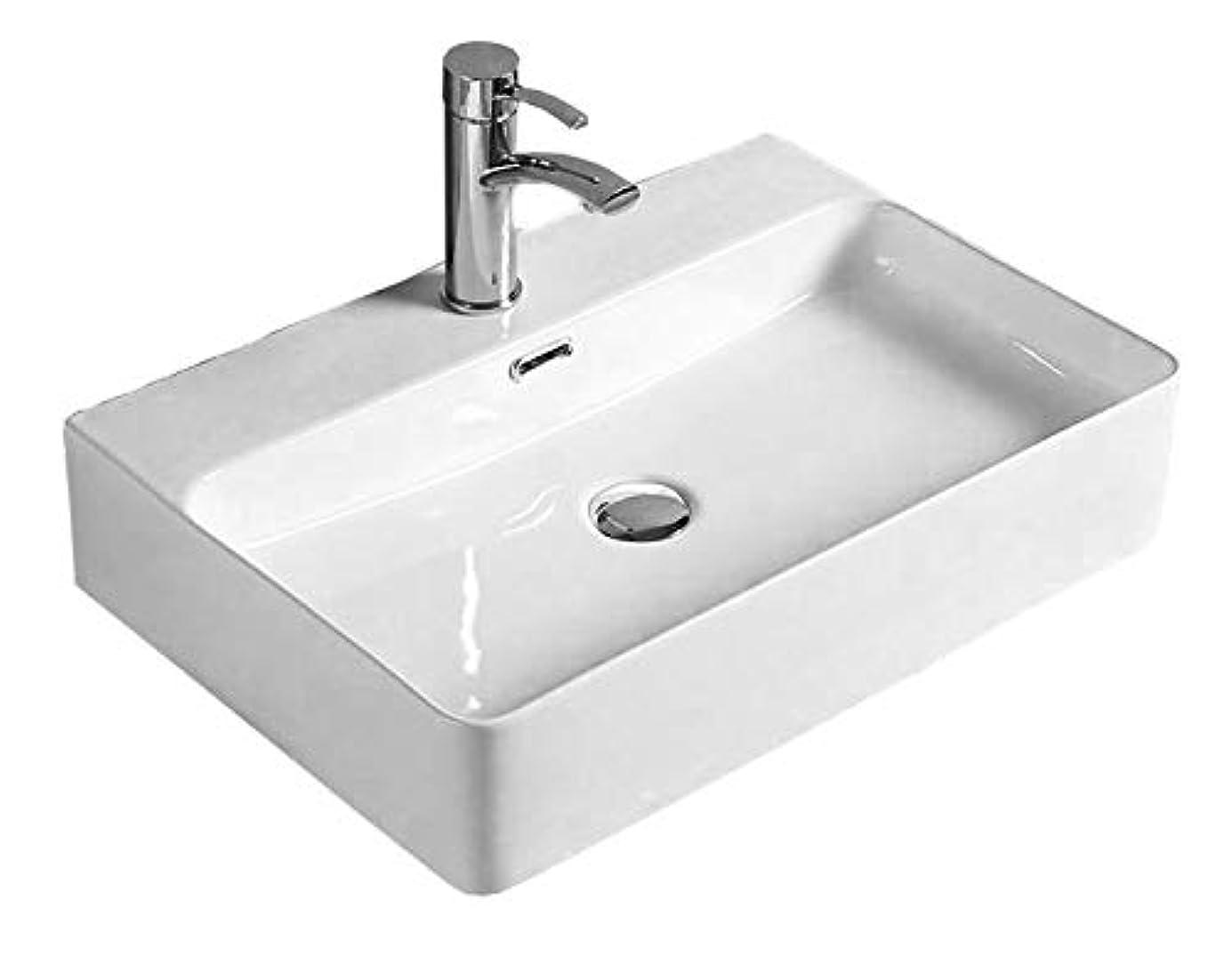 洗面ボウル Lifinsky 洗面台 白陶器製 手洗いボウル ベッセル式 手洗器 排水金具付き 3点セット 610*415*130mm