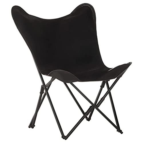 vidaXL Silla Mariposa Plegable Asiento Sillón Butaca Sala de Estar Salón Muebles Mobiliario Relajante Decoración de Cuero Auténtico Negro