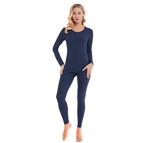 qingduomao Thermal Underwear for Women Ultra-Soft Long Johns Set Cotton Base Layer Winter Ski Warm Top & Bottom Blue