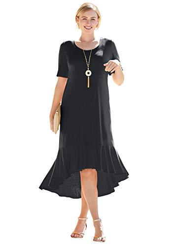 Jessica London Women's Plus Size Everyday Knit Flounce Hem Maxi Dress Soft & Lightweight Long Length - 28 W, Black