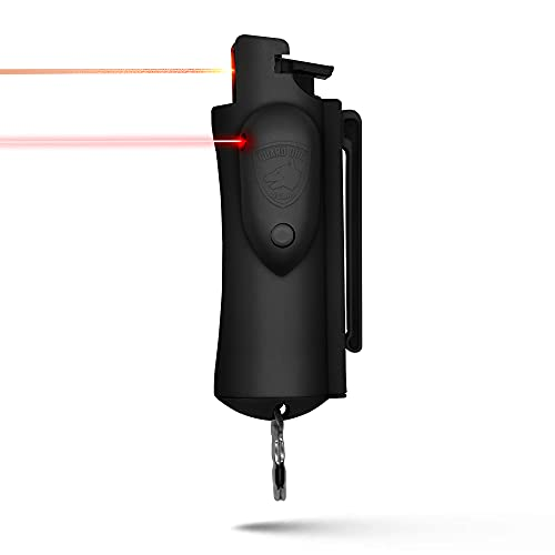 Guard Dog AccuFire Pepper Spray with Laser Sight Top - Easy Use and Highly Accurate - Keyring - Black