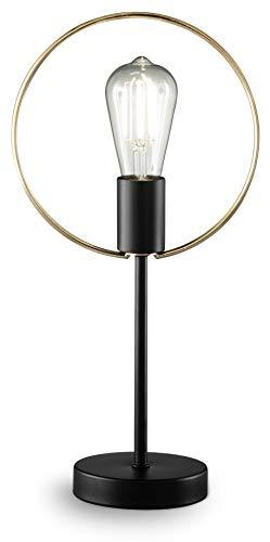 loxomo - ringlamp, 22 x 12 x 43, tafellamp met messing ring voor slaapkamer, woonkamer, eetkamer, tot max.60W, decoratieve lamp met E27 aansluiting, IP20, zwart/messing